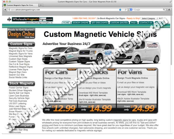 Screen Shot of Wholesalemagneticsigns.com website